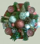 Striebornočervený okrúhly adventný veniec