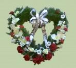 Bieločervené smútočné srdce